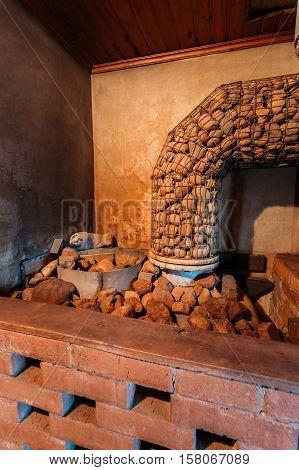 Interior Of Sauna. Wooden Walls And Shelves. Nobody. Furnace