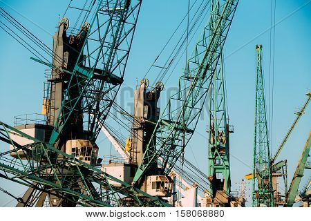 Old Heavy Loading Cranes In Port Dock On Sunny Blue Sky Background. Sunset Or Sunrise Time.