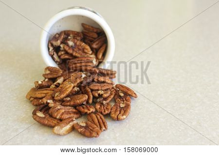 Pecans spilling out of a container on a kitchen countertop. Container positioned slightly left.