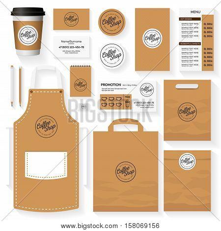 Coffee shop corporate identity template design set with coffee shop logo. Restaurant cafe set card flyer menu package uniform design set. Stock vector