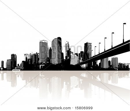 City reflected in water. Vector