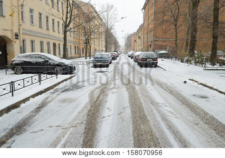 The first snow fell on city streets.