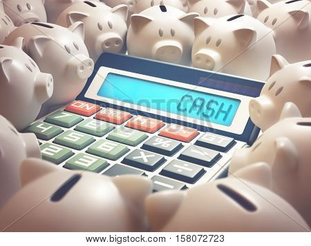 Calculator amid several piggy banks showing on the display the word
