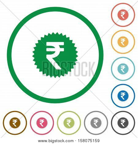 Indian Rupee sticker flat color icons in round outlines