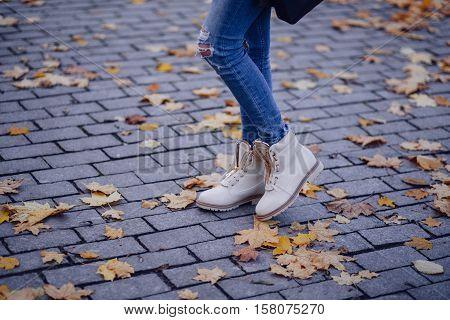 new tan zipper boots on black brick walkway