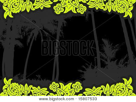 Palm trees on the beach with flowers.