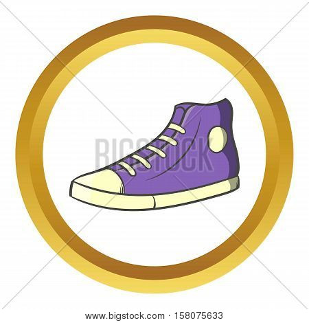Pair of sneakers vector icon in golden circle, cartoon style isolated on white background