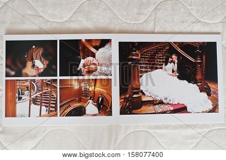 Wedding Photo Album 30X40. Dual Pages Of Photo Book Elegance Wedding Couple. Wide Wedding Photo In F