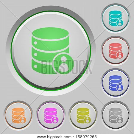 Database privileges color icons on sunk push buttons