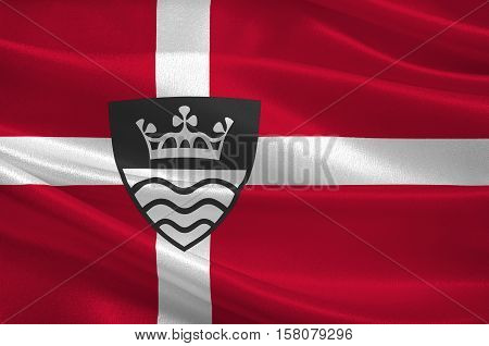 Flag of Stevns is a municipality in Denmark in Zealand Region. 3d illustration