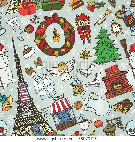 Paris christmas seamless pattern.Noel Holiday winter doodle symbols.Eiffel tower with hand drawing new year decorations elements.Vintage sketchy background.Vector, retro decor set, wallpaper, ornament