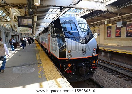 NEWARK, NJ, USA - MAY 7, 2013: NJ Transit locomotive Alstom PL42AC at Newark Penn Station, New Jersey, USA.