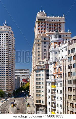View Of Street Calle De La Princesa In Madrid, Spain