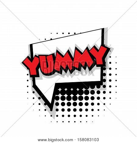 Lettering yummy Comic text sound effects pop art style vector. Sound bubble speech phrase comic text cartoon balloon expression sounds illustration. Comic text background template. Comics book balloon