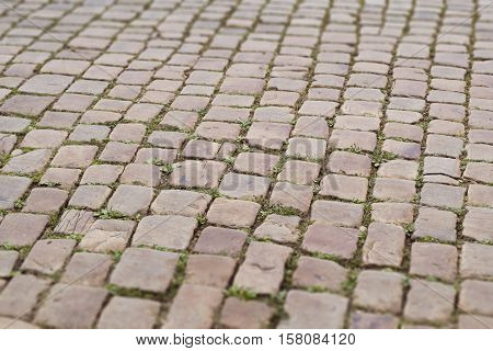 Stone road background. Red old paving photo