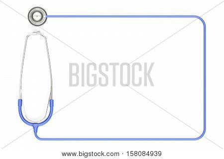 Stethoscope as frame blue color. 3D rendering isolated on white background