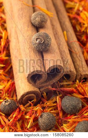 Macro View Of The Cinnamone, Peppercorn And Saffron