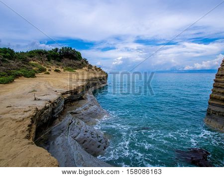 Sidari coastline on northern part of Corfu Greek island
