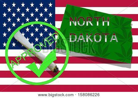 North Dakota On Cannabis Background. Drug Policy. Legalization Of Marijuana On Usa Flag,