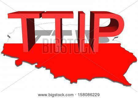 Ttip - Transatlantic Trade And Investment Partnership On Poland Map Background