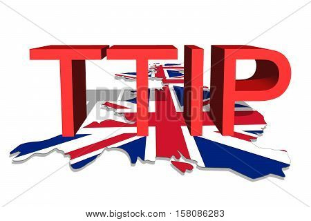 Ttip - Transatlantic Trade And Investment Partnership On United Kingdom Map Background