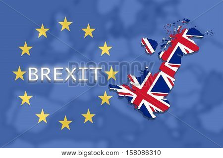 United Kingdom Map With Brexit On Euro Union And Europe Background