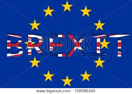 United Kingdom With Brexit On Europe Union Background