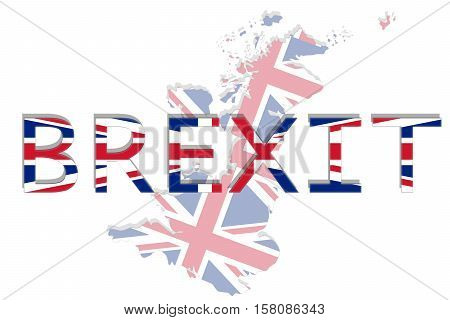 United Kingdom With Brexit On White Background