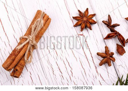 Seasoning For Mulled Wine Lie On White Wooden Table