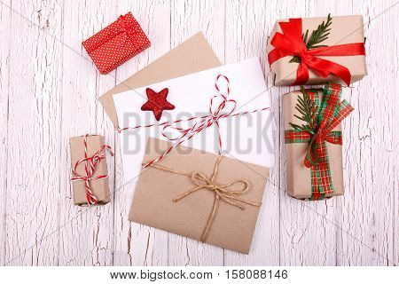 Red Present Boxes Lie White Wooden Table