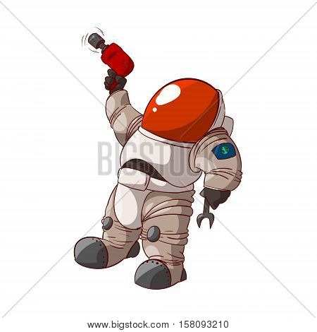 Colorful vector illustration of a cartoon expedition member astronaut or a cosmonaut in suit on mars or in space.
