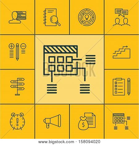 Set Of Project Management Icons On Time Management, Announcement And Innovation Topics. Editable Vec