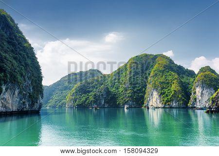 Beautiful Azure Water Of Lagoon, The Ha Long Bay, Vietnam