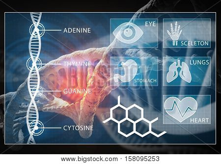 Media medicine background image as DNA research concept,