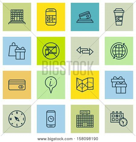 Set Of Traveling Icons On Road Map, Crossroad And Takeaway Coffee Topics. Editable Vector Illustrati