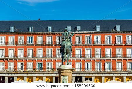 Statue of Philip III on Plaza Mayor in Madrid - Spain