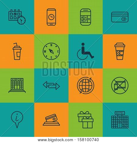 Set Of Traveling Icons On Present, Takeaway Coffee And Crossroad Topics. Editable Vector Illustratio