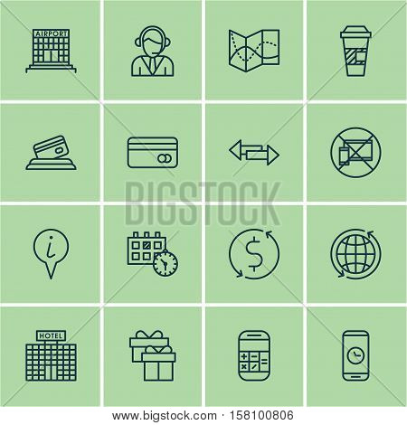 Set Of Travel Icons On Hotel Construction, Info Pointer And Road Map Topics. Editable Vector Illustr