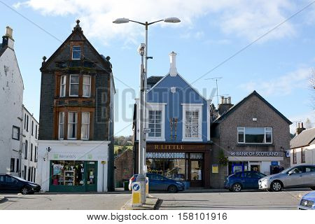 MOFFAT, UK - NOVEMBER 5, 2016: The main shopping street, Moffat,Dumfries and Galloway, Scotland, UK