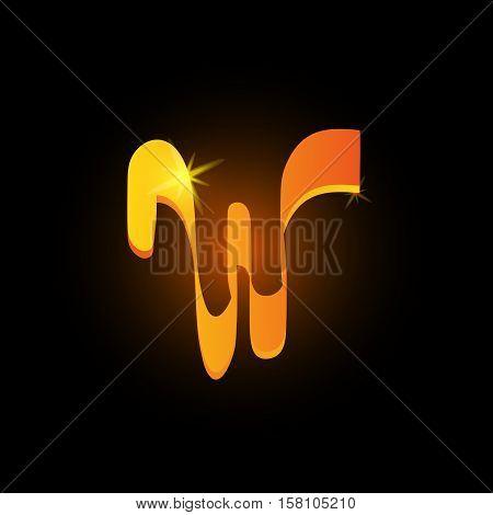 Golden arabic style letter w. Shiny latin alphabet element icon on black background. Oriental calligraphy design. Fiery decorative vector illustration