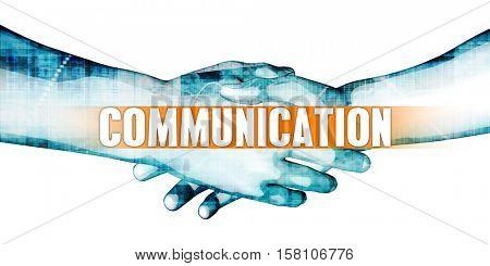 Communication Concept with Businessmen Handshake on White Background 3d Illustration Render