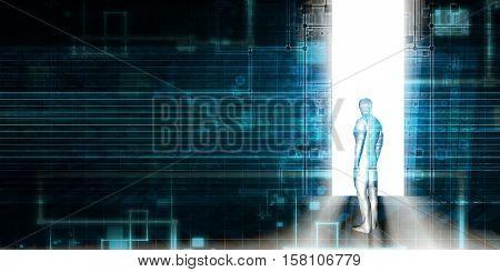 Digital Revolution and Disruptive Technology on the Horizon 3d Illustration Render