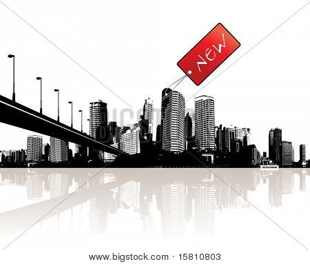 City with red tag. Vector