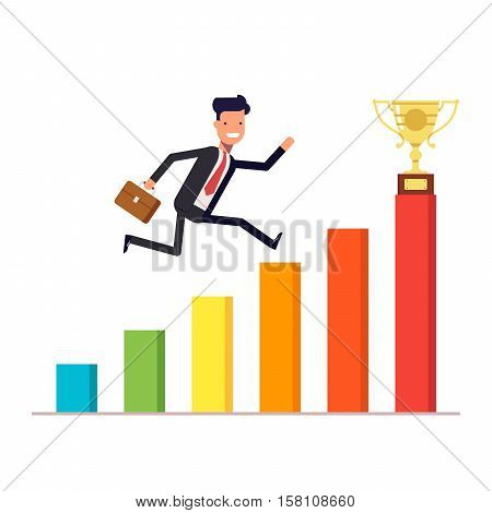 Businessman or manager with a briefcase jumping up on a schedule to the prize cup. Diagram of revenue growth. Vector, illustration EPS10