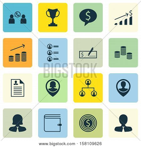 Set Of Hr Icons On Manager, Tournament And Coins Growth Topics. Editable Vector Illustration. Includ