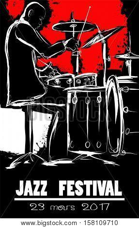 Jazz festival Poster with drummer - vector illustration