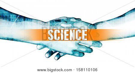 Science Concept with Businessmen Handshake on White Background 3d Illustration Render