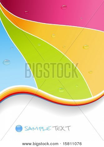 Wassertropfen auf farbigen Hintergrund. Vektorgrafiken.