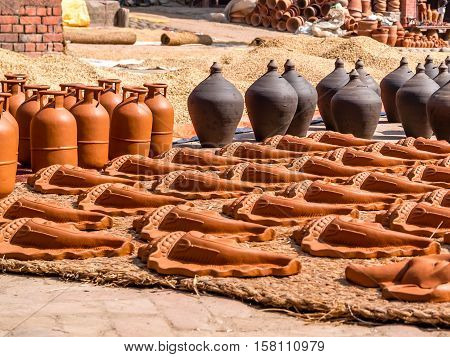 Pottery drying in the sun in Bhaktapur Nepal