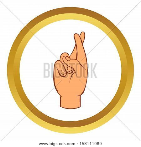 Fingers crossed vector icon in golden circle, cartoon style isolated on white background